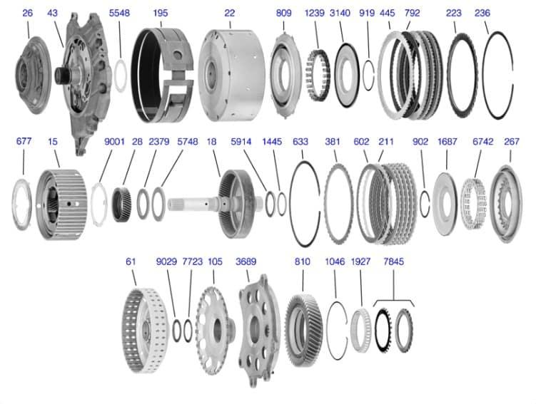 Схема сборки АКПП TF81SC вторая часть