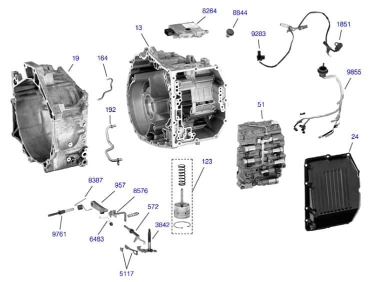 Схема сборки АКПП TF81SC первая часть