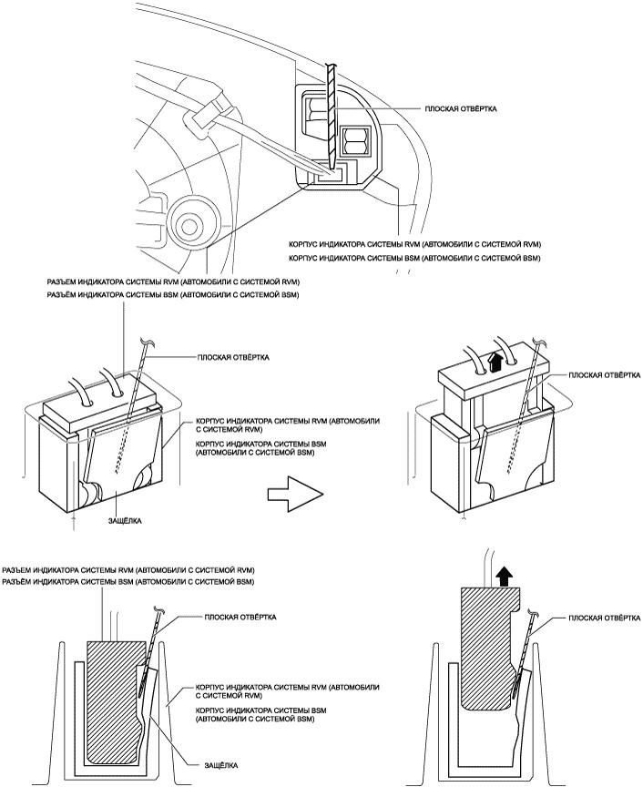 Схема отсоединения зеркального элемента Mazda CX-5 рисунок 8