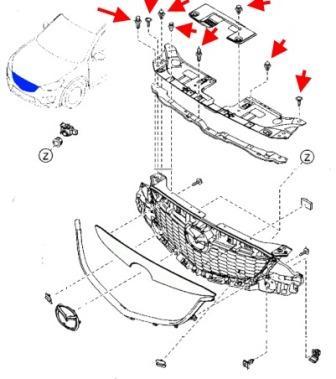Демонтаж радиаторной решетки Mazda CX-5