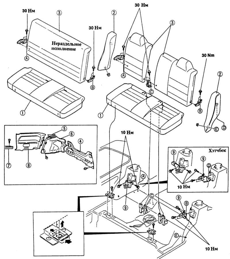 схема снятия сидений