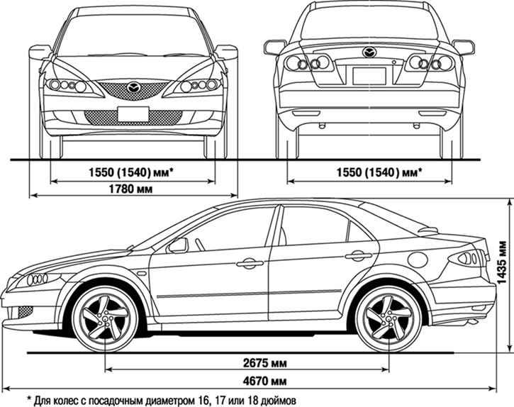 Mazda 6 размеры